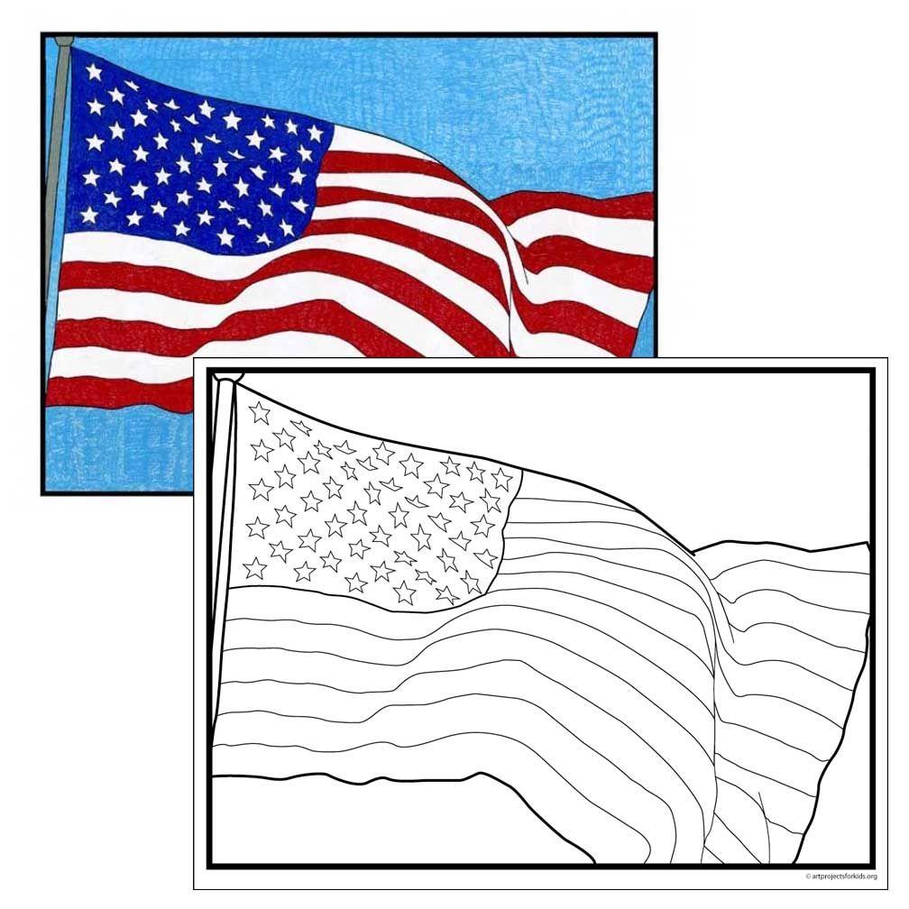 USA Flag Coloring Page