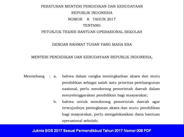 Juknis Bos  Sesuai Permendikbud Tahun  Pdf Untuk Bendahara Sdsdlb Smp