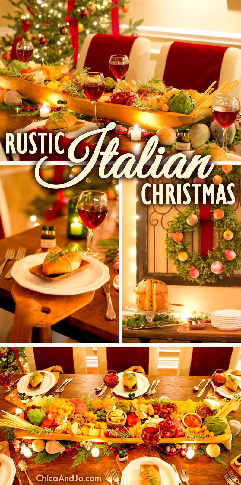 rustic italian christmas dining room table decorations christmasdecor christmas italianstyle - Italian Christmas Table Decorations