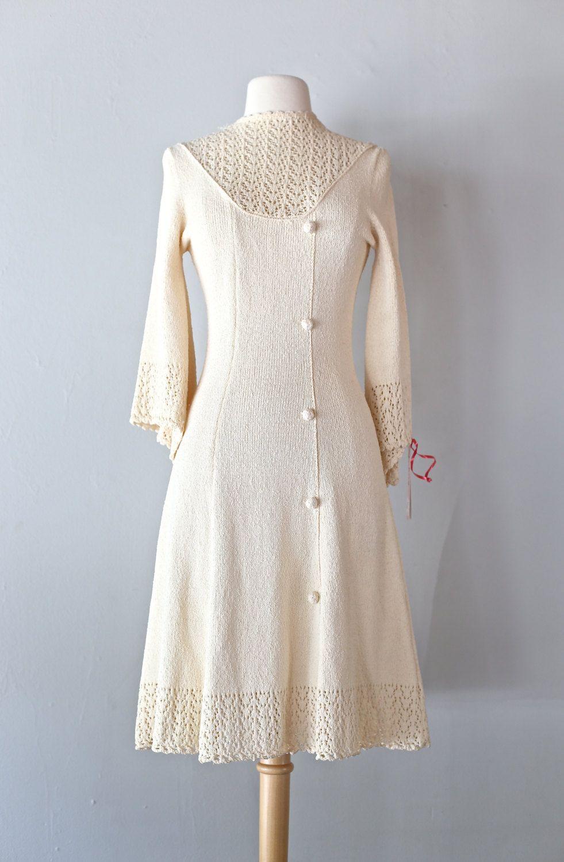 f379bfe71c1 Vintage 1960s Ivory Knit Mini Dress ~ 60s Crochet Dress ~ Vintage 60s  Wedding Dress by xtabayvintage on Etsy