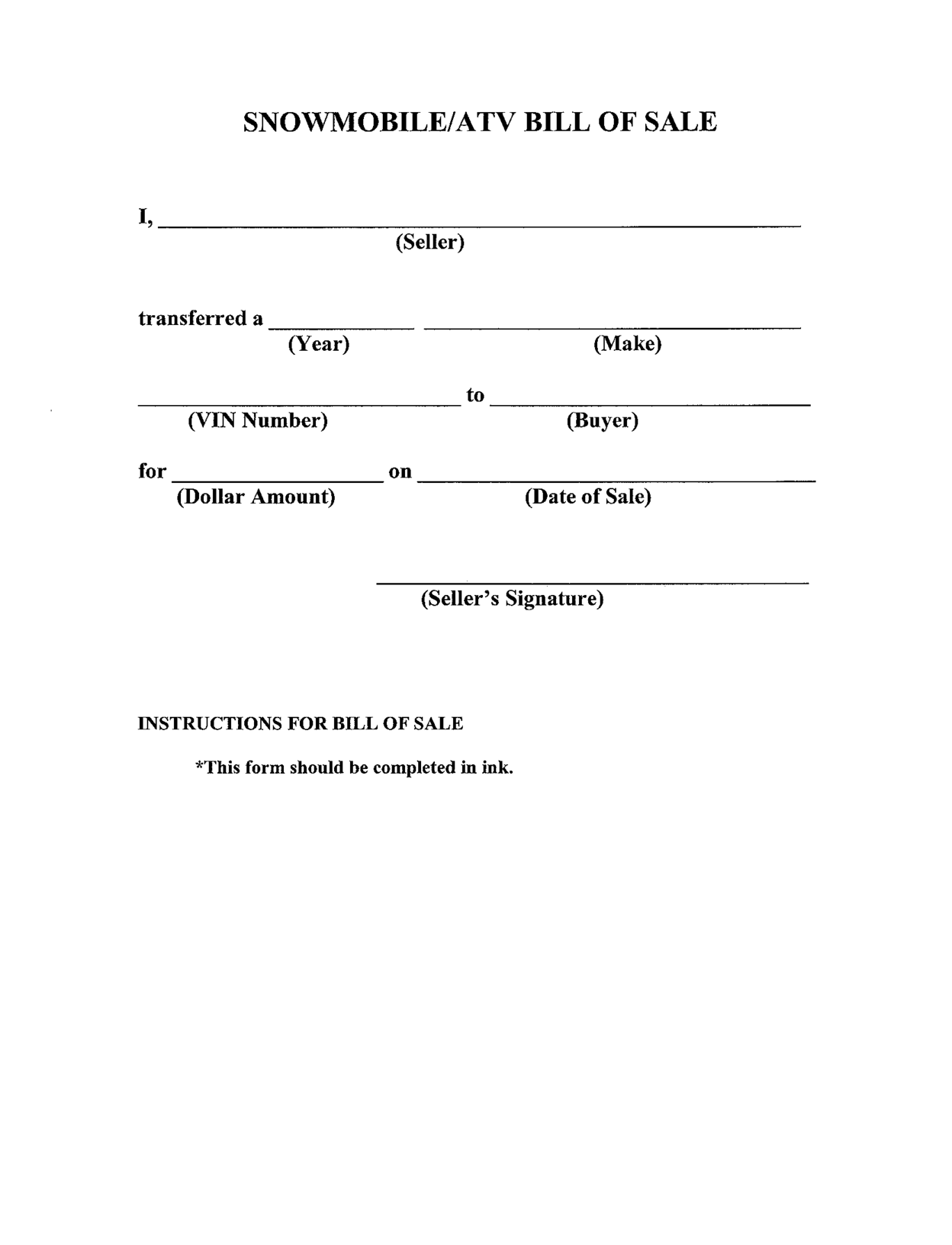 Printable Sample bill of sale templates Form | Generic Form | Pinterest