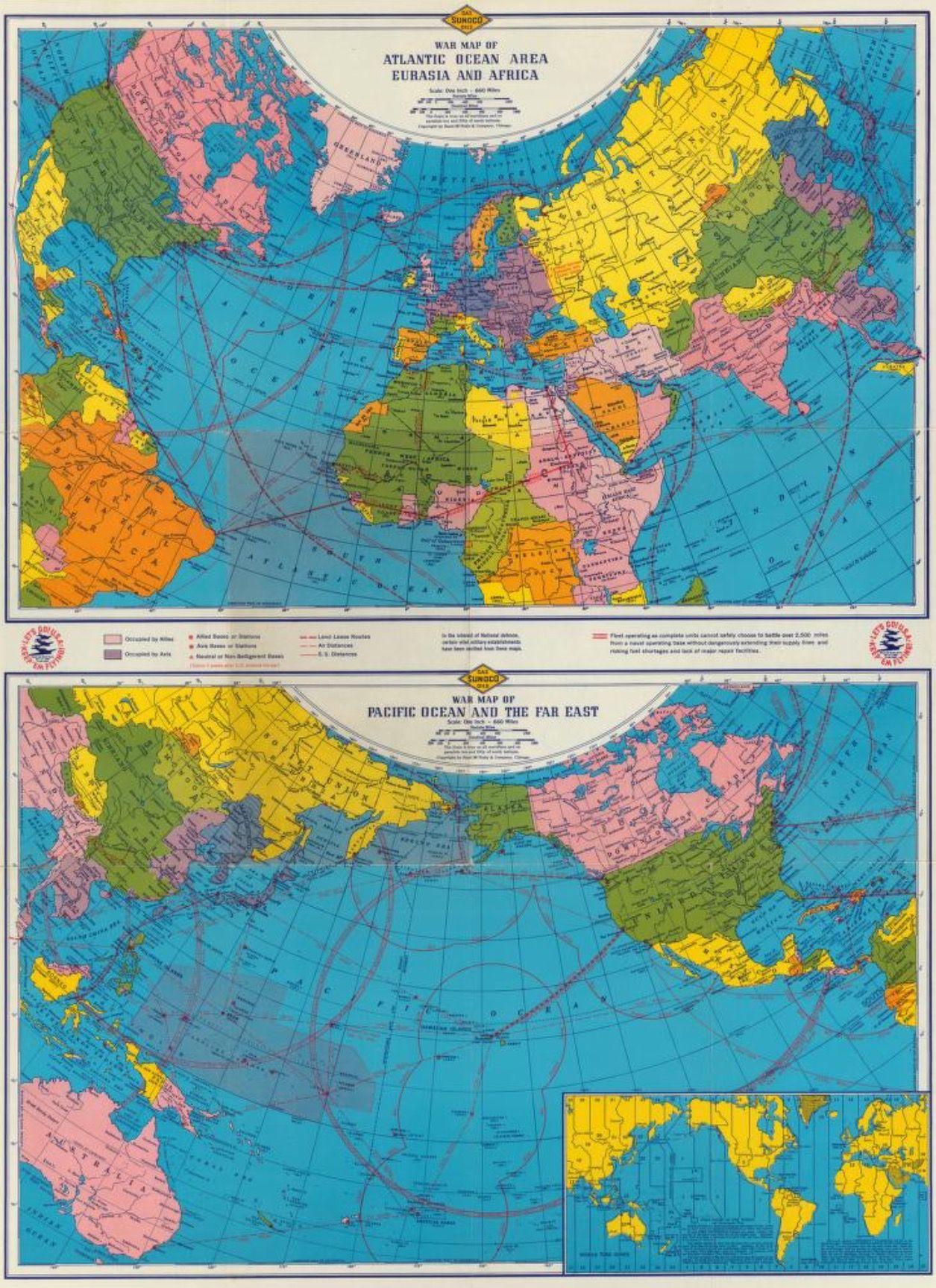 Rand McNally and Sun Oil Company. 1942 War map of Atlantic Ocean ...