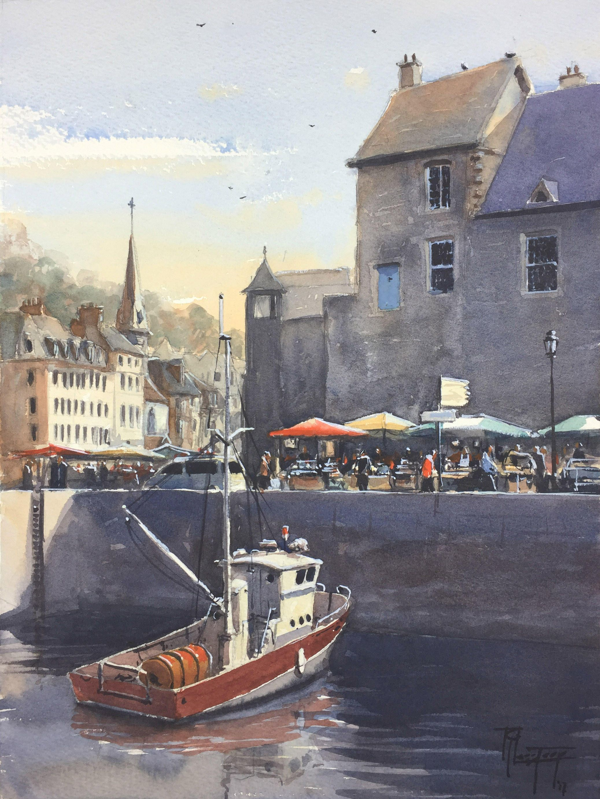 Boat Painting Fishing Boats Watercolor Nautical Painting Honfleur