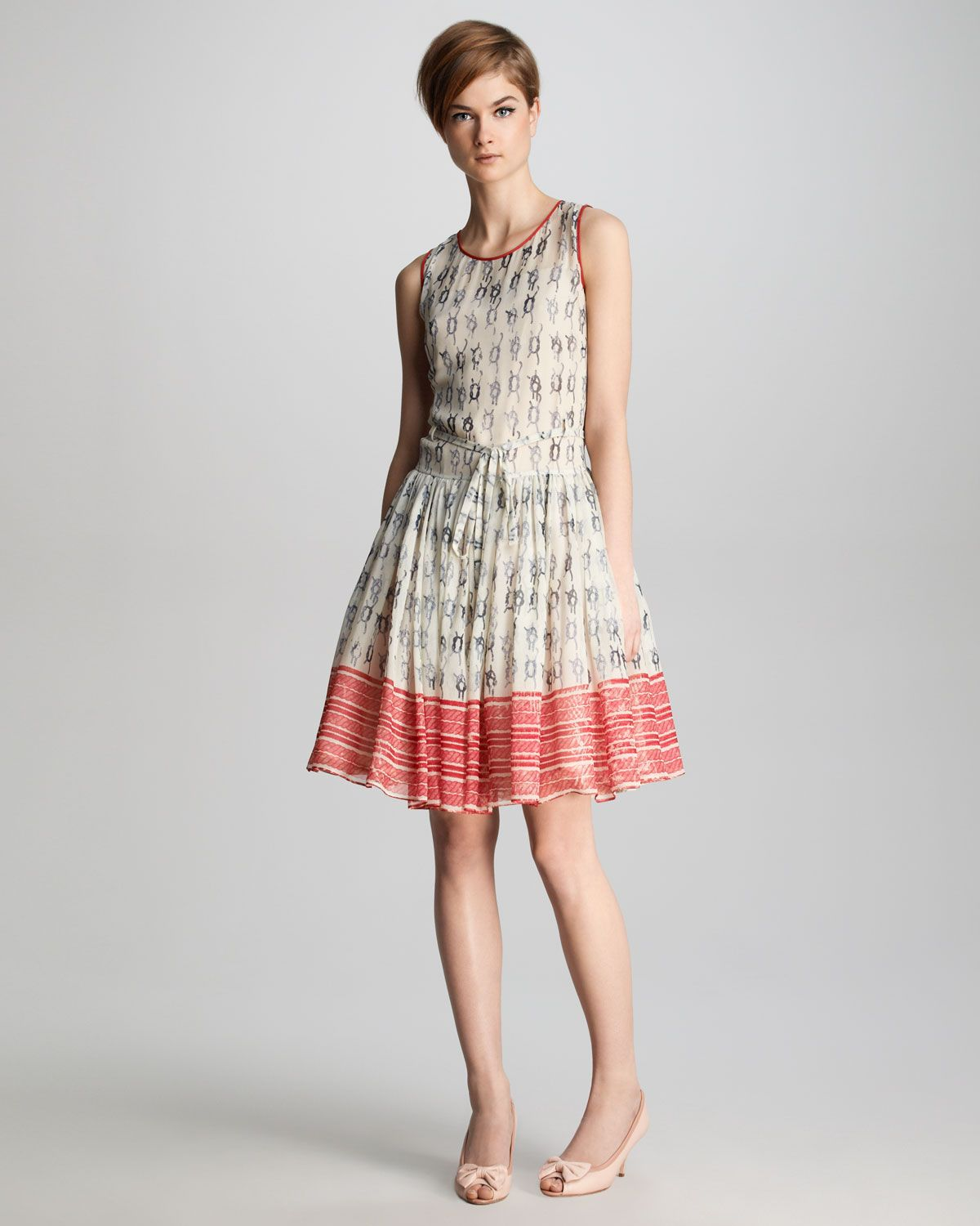 RED Valentino Knot-Print Georgette Dress - Neiman Marcus | Clothes ...