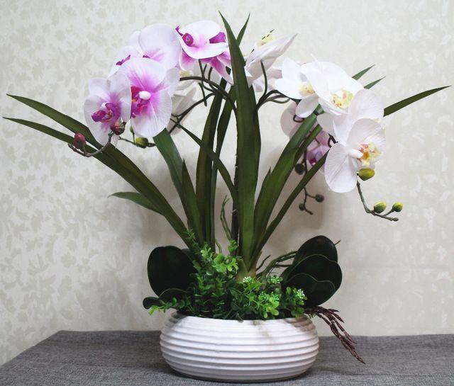 1 Unidades Artificial Arreglo Floral De Orquídeas Bonsai