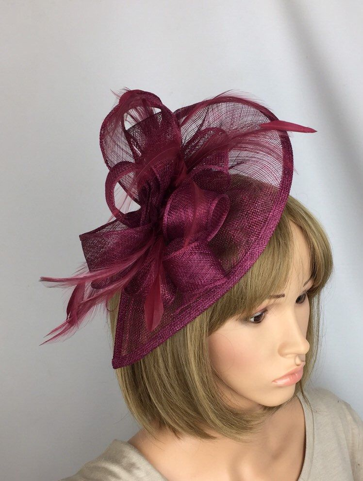 6cd54256 Burgundy Fascinator Maroon Claret Red Fascinator Sinamay Fascinator Wedding  Mother of the Bride Ladies Day Ascot Races Occasion Event in 2019 | Pretty  ...