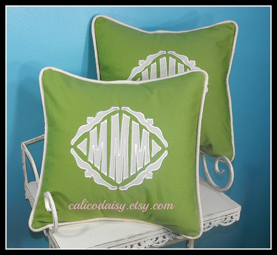 SET+OF+2++The+Veronique+Applique+Monogrammed+Pillow+by+calicodaisy,+$115.00