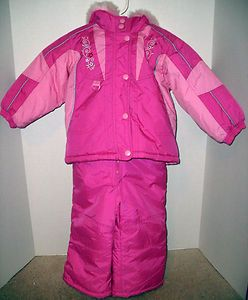 Girls 2T Pink Warm Winter Coat Snow Pants Set with Hood for $29.95