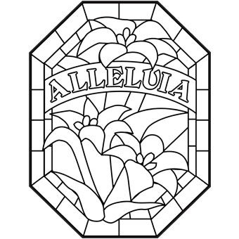 Alleluia stained glass design