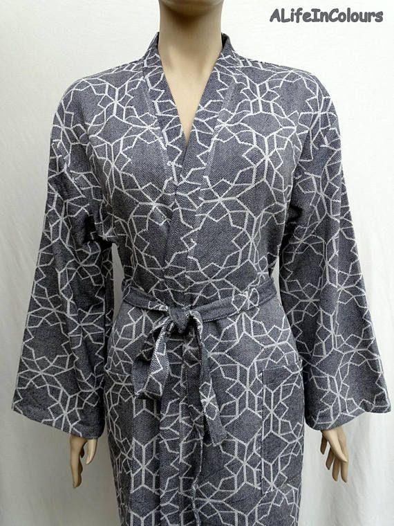 Black colour snowflake patterned soft lightweight cotton long ...