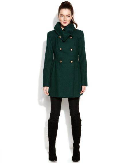 ddc901f0ded Kenneth Cole Reaction Shawlcollar Doublebreasted Pea Coat in Green (Hunter)