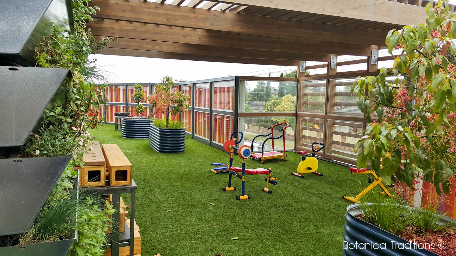 a narrow north facing rooftop playspace needs to be functional we