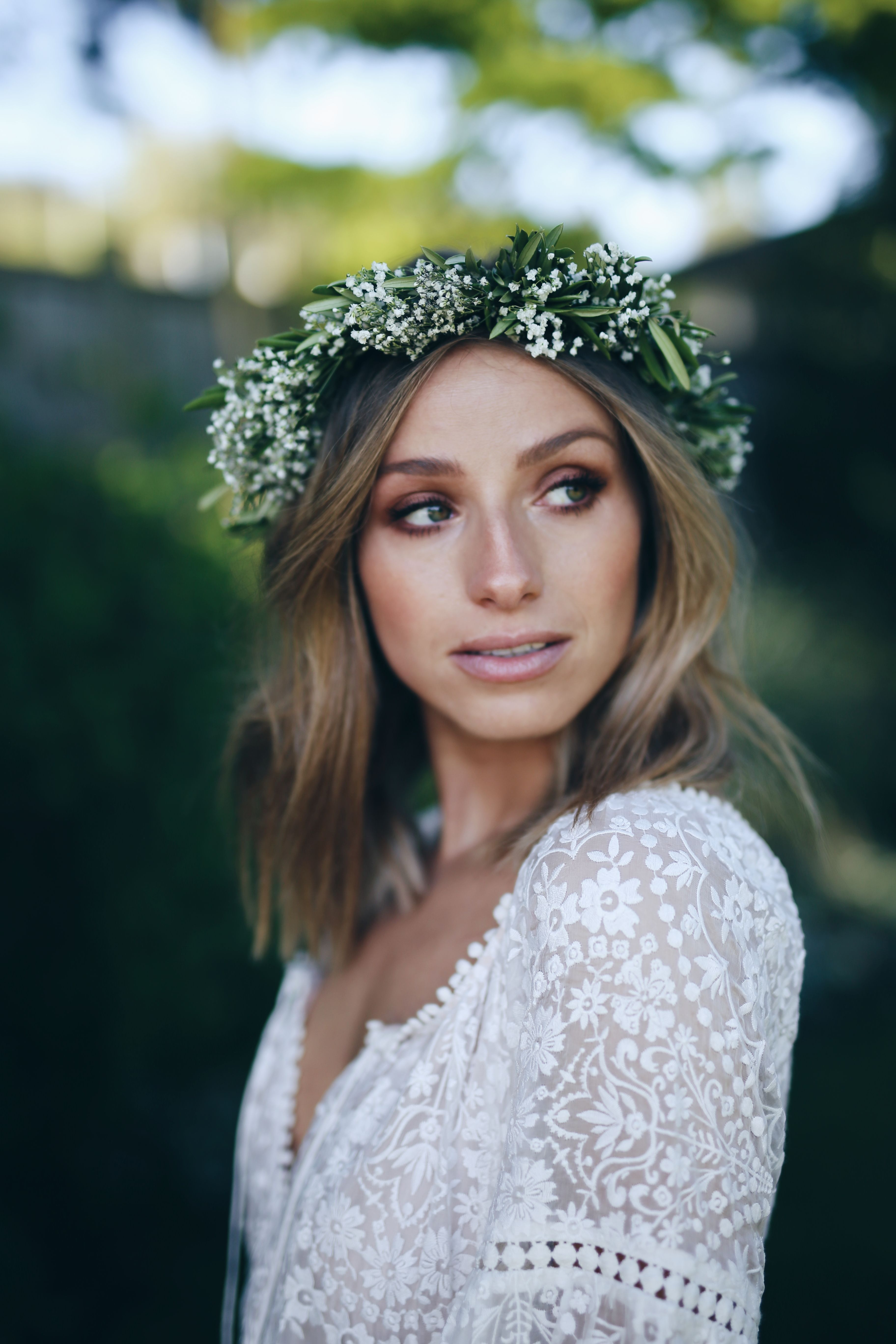 Our engagement party beachy waves natural make up and flower crowns natural makeup with smokey eye beachy waves green and white flower crown izmirmasajfo