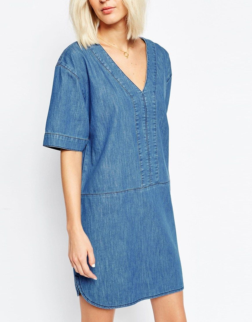 ASOS Denim Dress With Curved Hem In Mid-Wash Blue