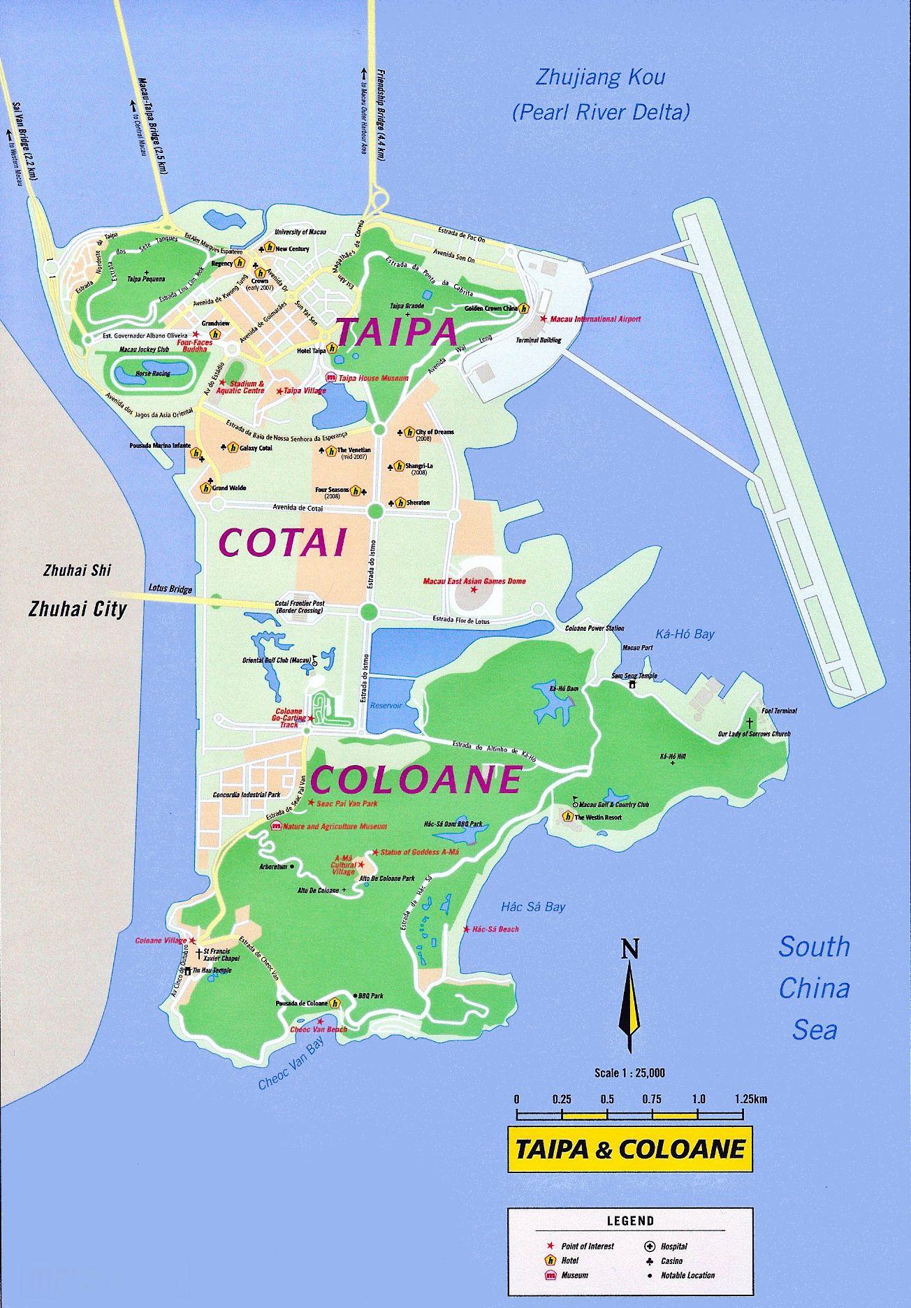 Taipa and Coloane Tourist Map Taipa Macau mappery macau map