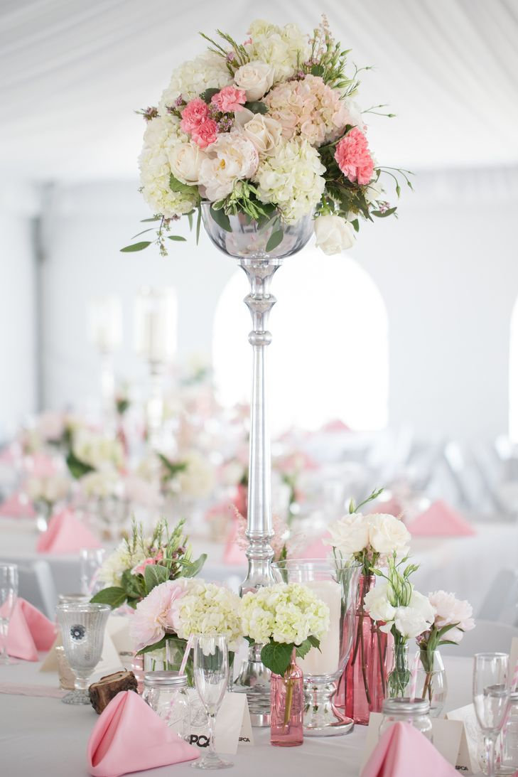 White and Pink Peonies Centerpiece | Weddings by Adrienne and Amber ...
