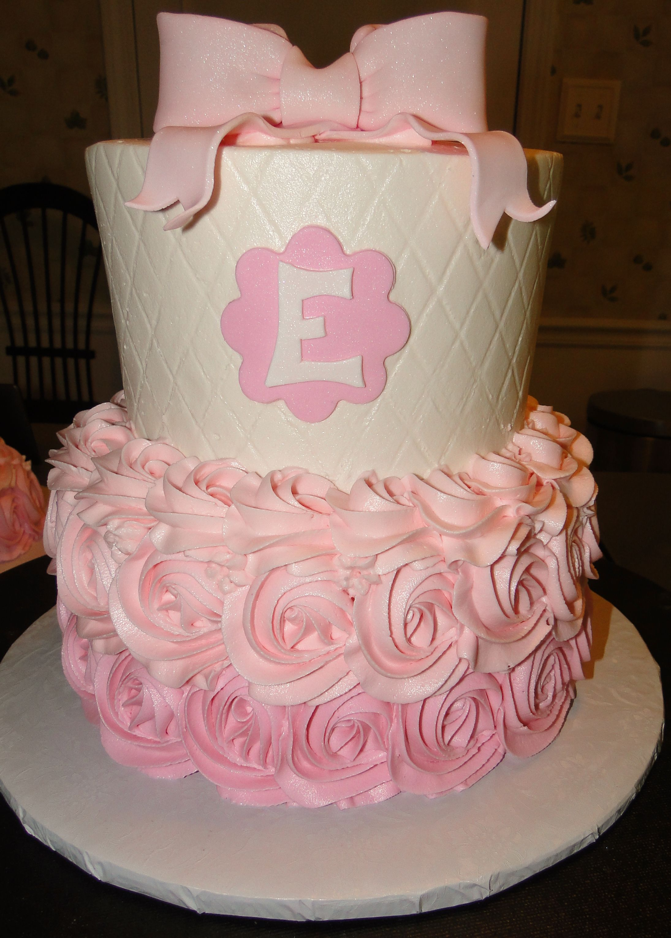 rosettes quilted pink baby girl first birthday tiered cake ombre