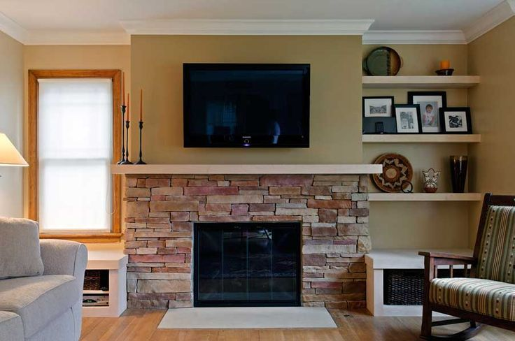 stone fireplace small room half wall - Google Search | Fireplace ...