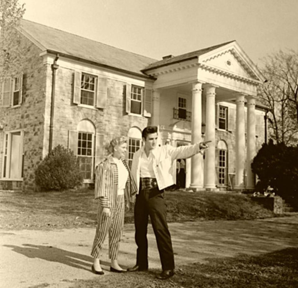 19th April 1957 -Elvis shows his new $100,000 home to Hollywood starlet Yvonne Lime who flew in to spend Easter weekend with him and his Parents at Graceland Memphis