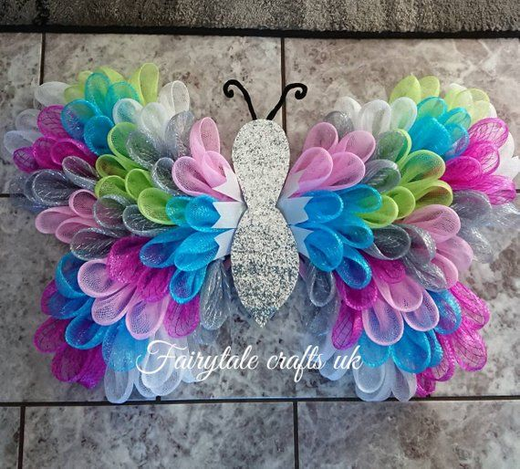 Beautiful stunning vibrant butterfly wreath deco mesh wall hanger ideal for any room a real statement piece gift