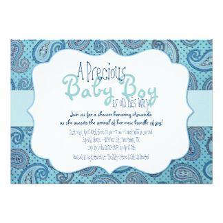 Invitación azul de la ducha del bebé de Paisley Invitación 12,7 X 17,8 Cm