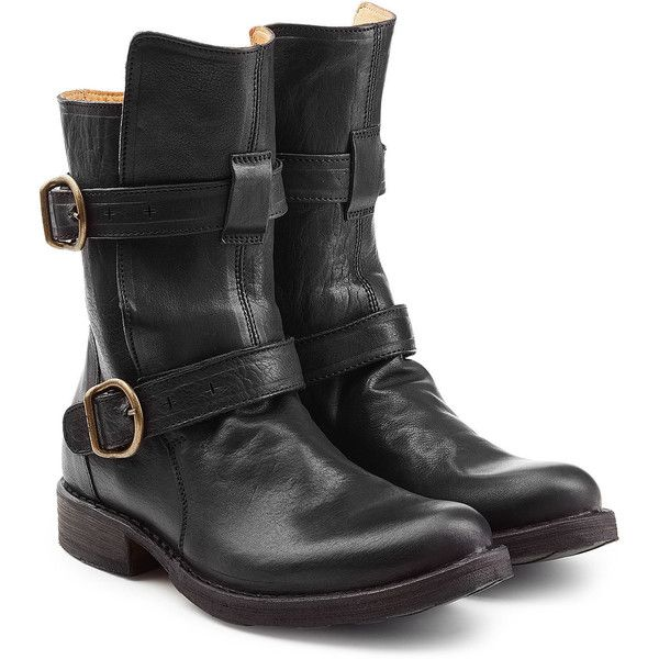 Fiorentini & Baker Leather Biker Boots ($429) ❤ liked on Polyvore featuring shoes, boots, black, black engineer boots, motorcycle boots, leather motorcycle boots, moto boots and black mid calf boots