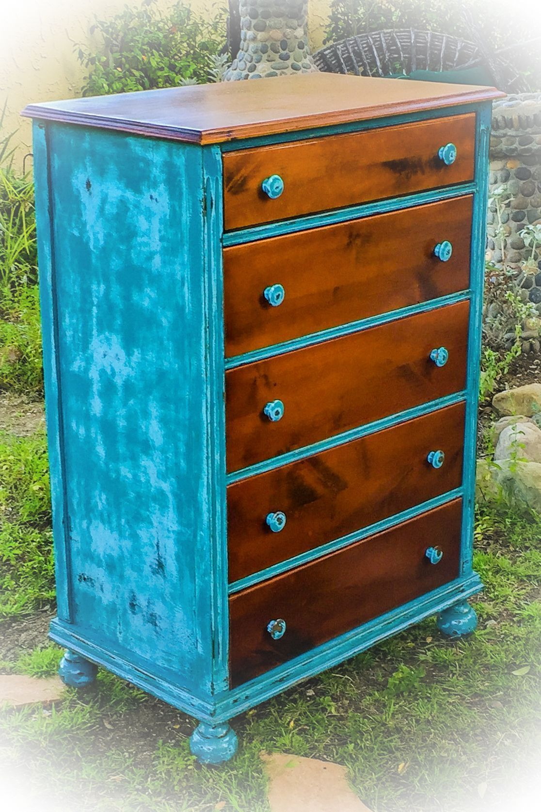 distressed blue furniture. Farmhouse, Vintage Dresser, Distressed, Blue With Graduated, Stained Wood, Kid\u0027s Furniture, Children\u0027s French Country, Shabby Chic, Distressed Furniture O
