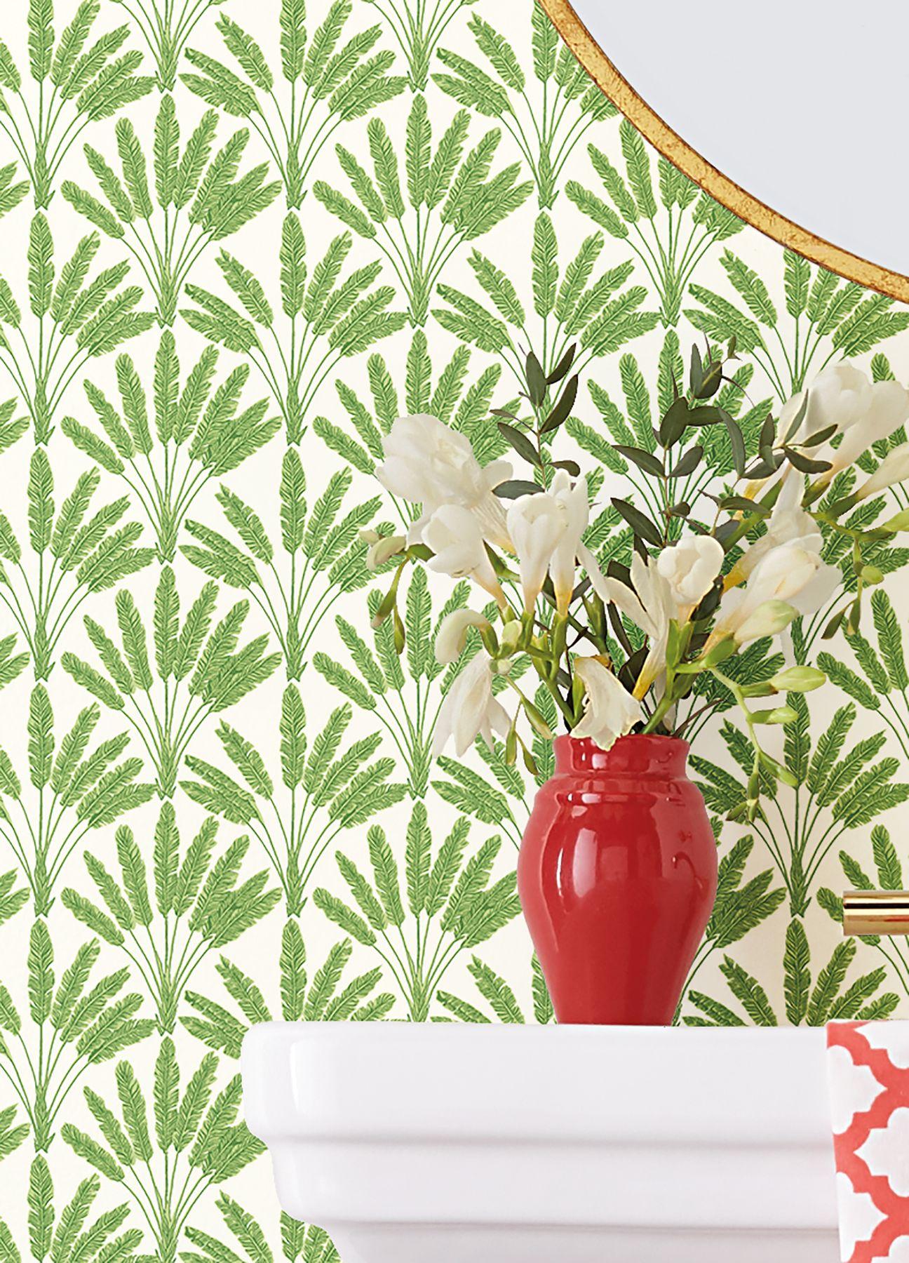 Wallpaper Katada Leaf Green In 2021 Painter And Decorator Wallpaper Pattern Wallpaper