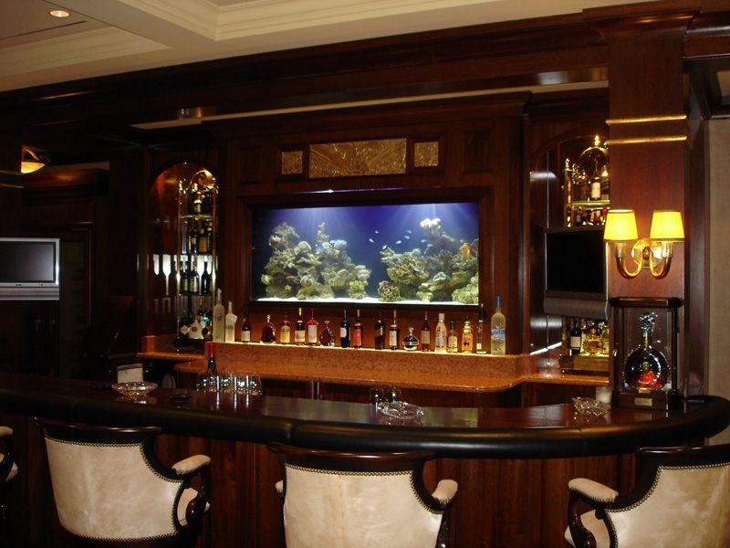 Bar built in aquarium dream house ideas pinterest for Built in fish tank