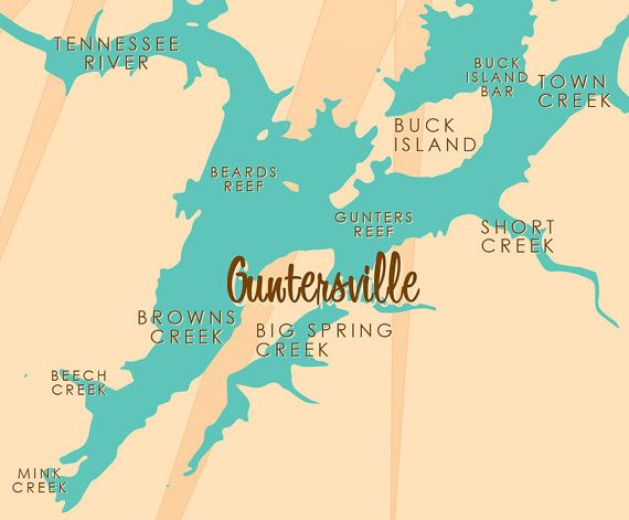 Lake Guntersville Map Lake Guntersville, AL   Canvas Print | Products | Canvas art