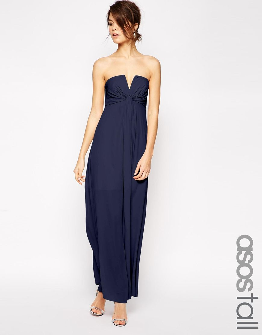 Asos tall wedding soft notch bandeau maxi dress at asos