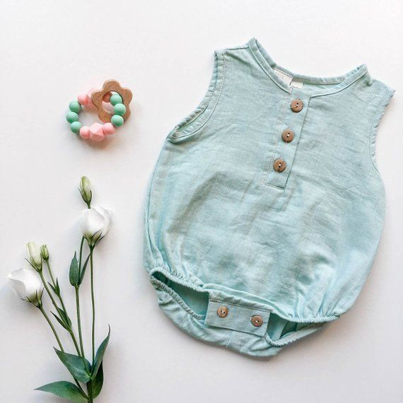fc5214dd933 Organic double gauze bubble romper with olive tree buttons in mint Kids  Bubbles