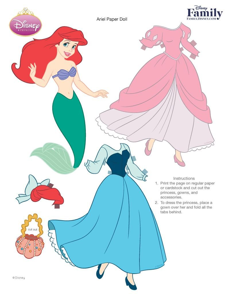 Princess Ariel Paper Doll Printable 0511 Fdcom Page 001 Princess Paper Dolls Paper Dolls Disney Paper Dolls