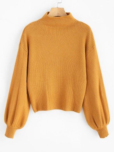 Lantern Sleeve Mock Neck Plain Sweater