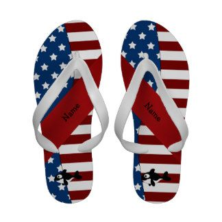 4th of July patriotic red white and blue flip flops, sandal
