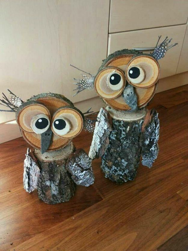 Winter Wood Craft Ideas Owls Pineapples Wood Log Crafts Wood
