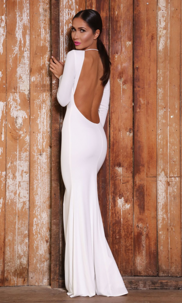 White Backless \'Sierra\' Gown Abyss by Abby | Connie | Pinterest | Gowns