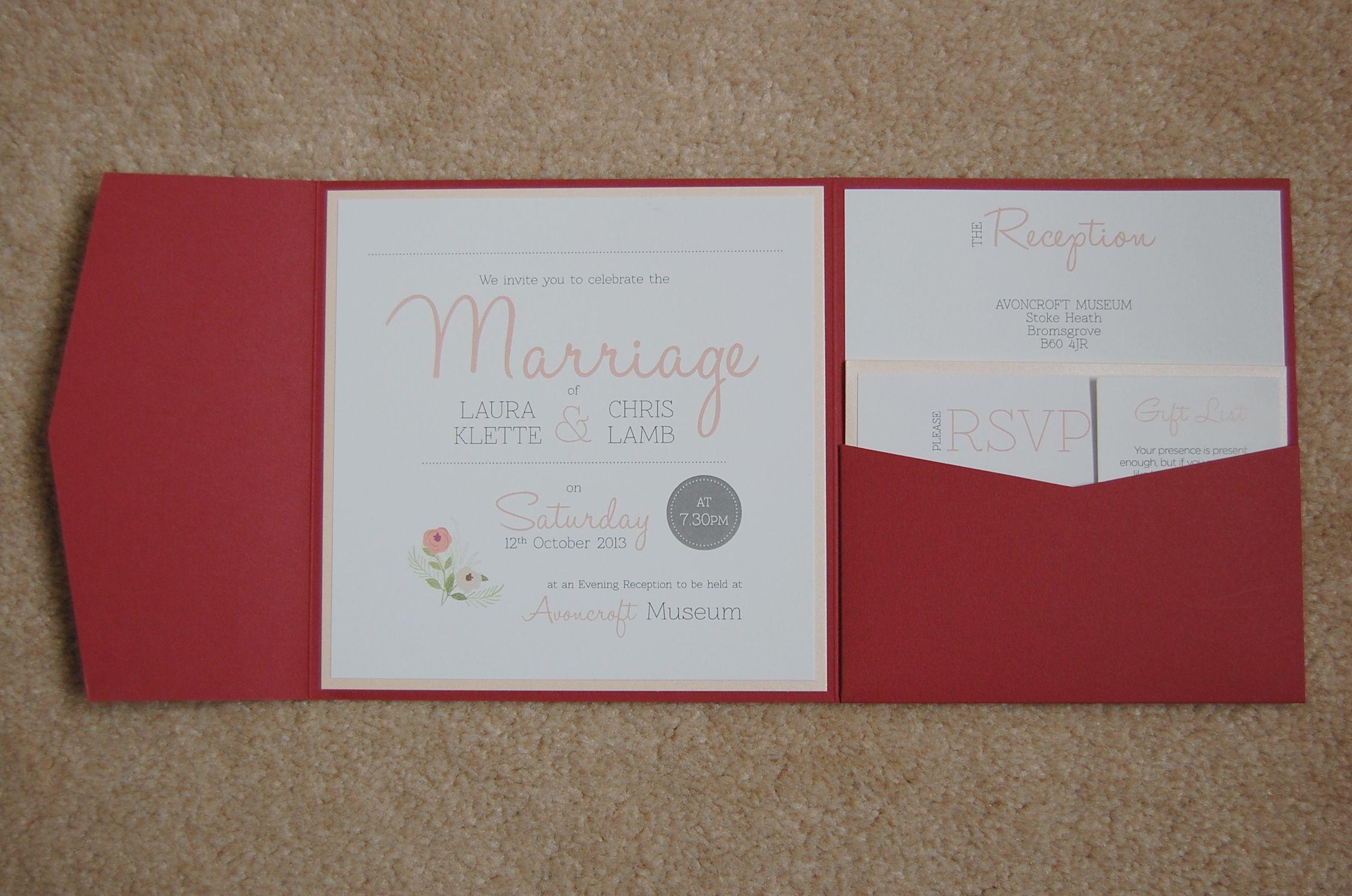 Blush, peach, and burgundy floral wedding invitations. Pocket fold ...