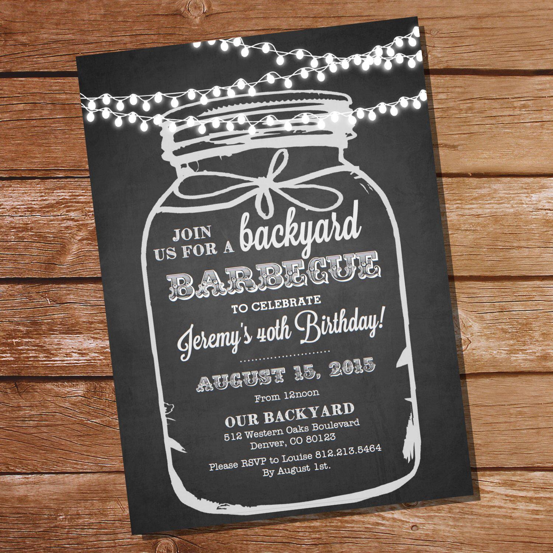 Chalkboard BBQ Birthday Invitation - Chalkboard Mason Jar ...
