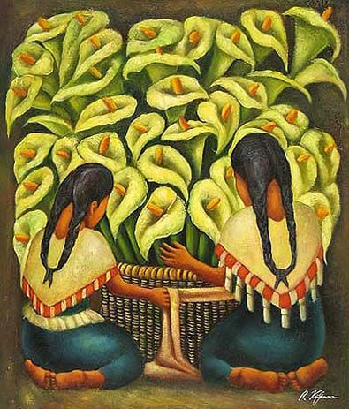 Mexican Art Oil Painting Cst 36 Diego Rivera Calla Lilly Vendor
