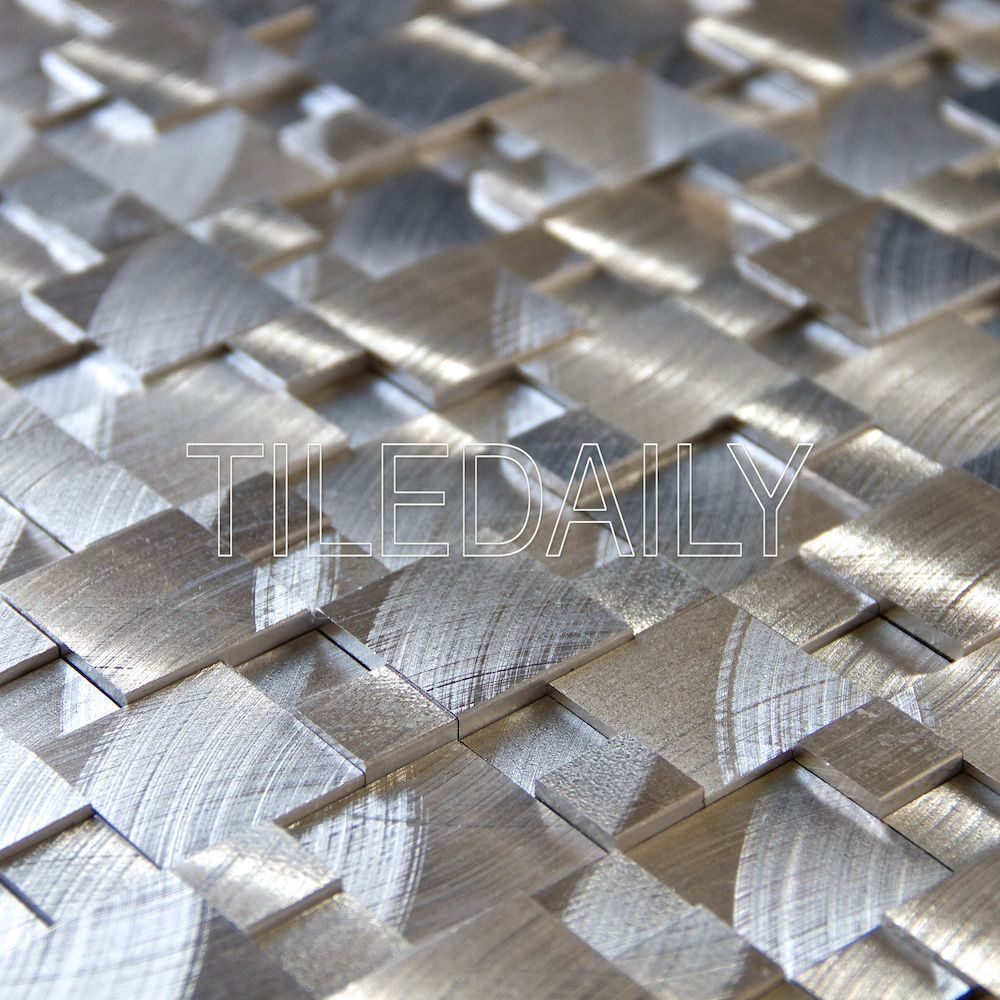 Silver splitface aluminum mosaic pack of 10 splitface silver item silver splitface aluminum mosaic tile dimensions x thickness surface brushed splitface metallic material aluminum application dry wall dailygadgetfo Gallery