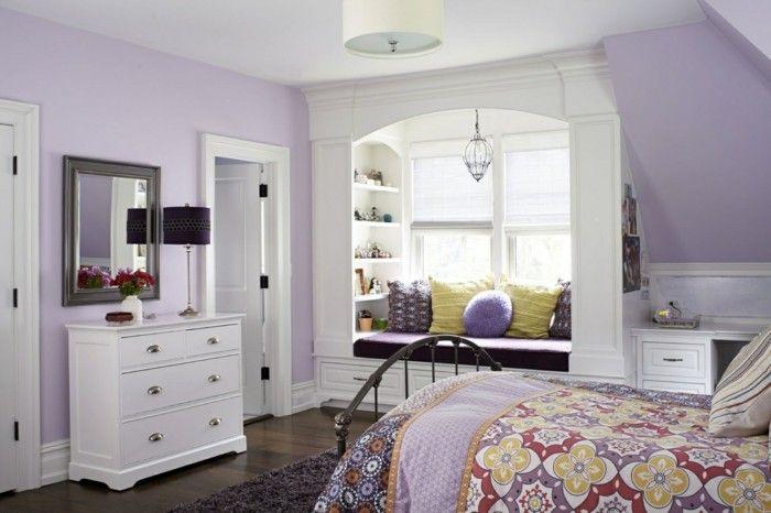 Die Farbe Lila schlafzimmer dachschräge farbige bettwäsche - schlafzimmer farben dachschrge