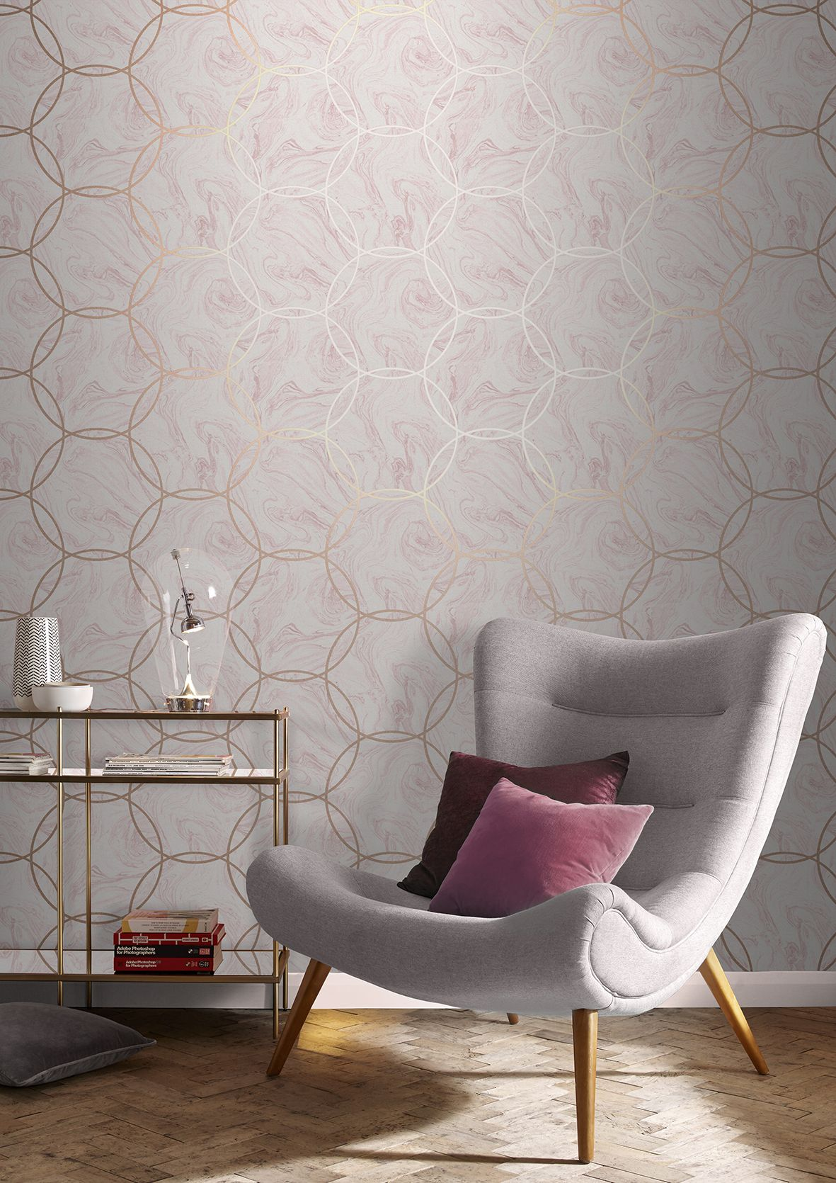 Marrying Stunning Blush Pink Marble With Rose Gold Geometric Circles Aqueous Wallpaper Bedroom Feature Wall Feature Wallpaper Living Room Girls Room Wallpaper
