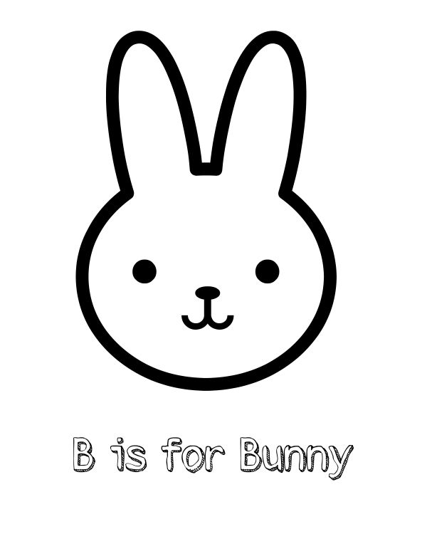 Free Printable B is for Bunny Coloring Page   Bunny ...