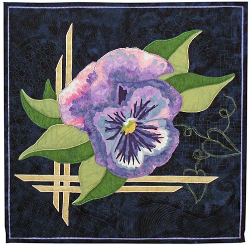 "Celebrate Spring, 27 x 27"", by Jan Potter, Fiber Artist.  Flower quilt, pansy"