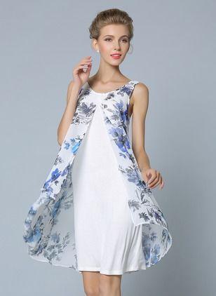 4b5ba623e Chiffon Floral Sem magas Acima do Joelho Vintage Vestidos de ...