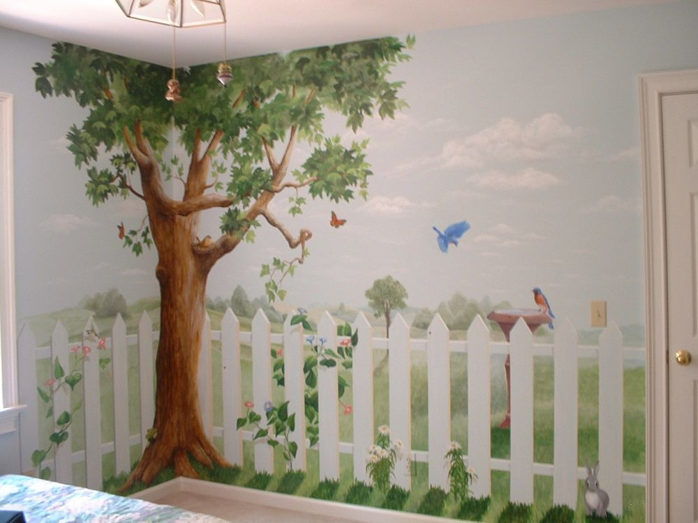 picket-fence-and-tree-mural-38154jpeg (1000×750) Tree Mural - murales con fotos