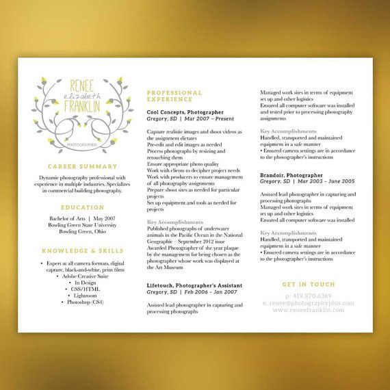 3 Piece Resume Package Unique Horizontal Layout by ScribbledNapkin ...