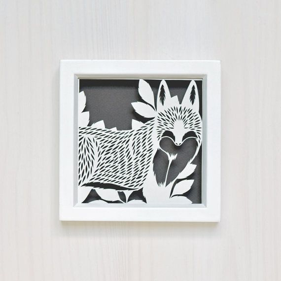 Fox in the brush hand-cut from white paper. Background is dark gray creating a nice contrast that shows off the fine detail of this cut. Ready to hang,