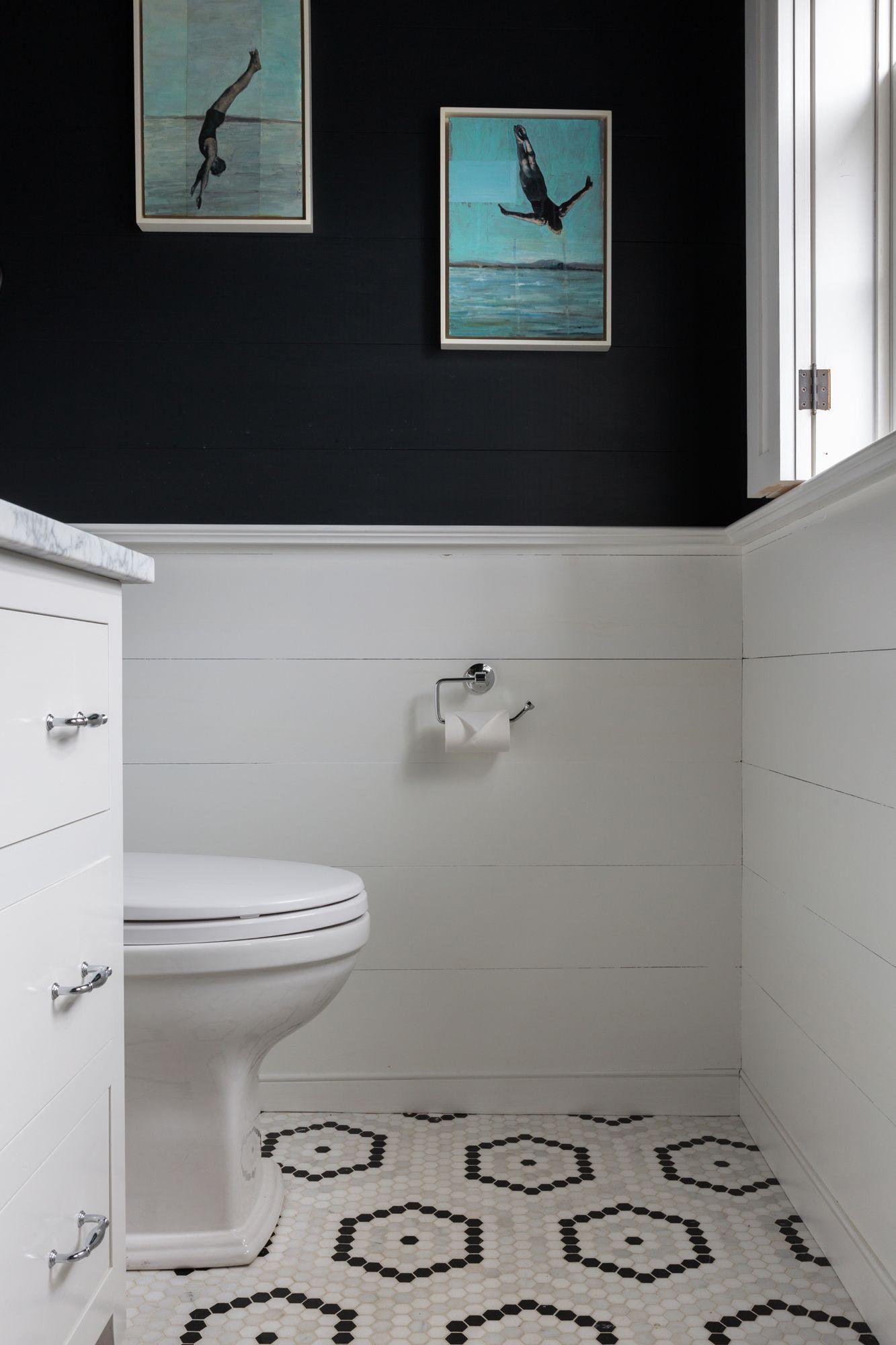 Mosaic Hexagon Floor Tile Penny Round Tile Floor Design Shiplap Halfway Up The Wall With Navy Pai Amazing Bathrooms Latest Bathroom Tiles Floor Tile Design